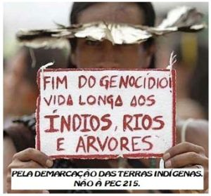 Stop the genocide! Long live the Indios, rivers and trees