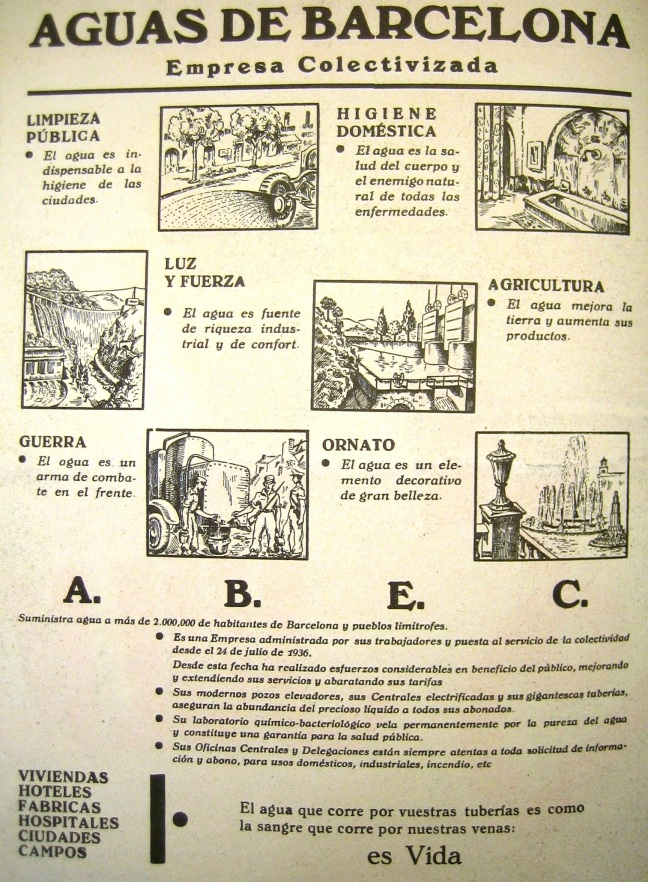 Advert by Aigüas de Barcelona. Source: Luz y Fuerza, 1937