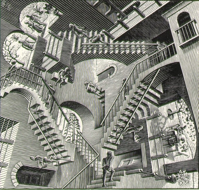 """Relativity"". Source: http://www.aptpupil.org/Media/Not%20Mine/Art/slides/escher_relativity.html"
