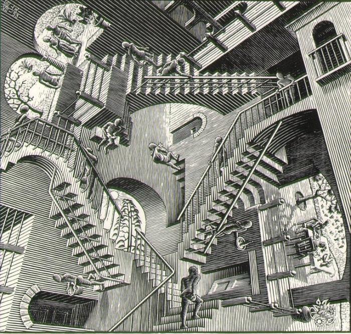 """""""Relativity"""". Source: http://www.aptpupil.org/Media/Not%20Mine/Art/slides/escher_relativity.html"""