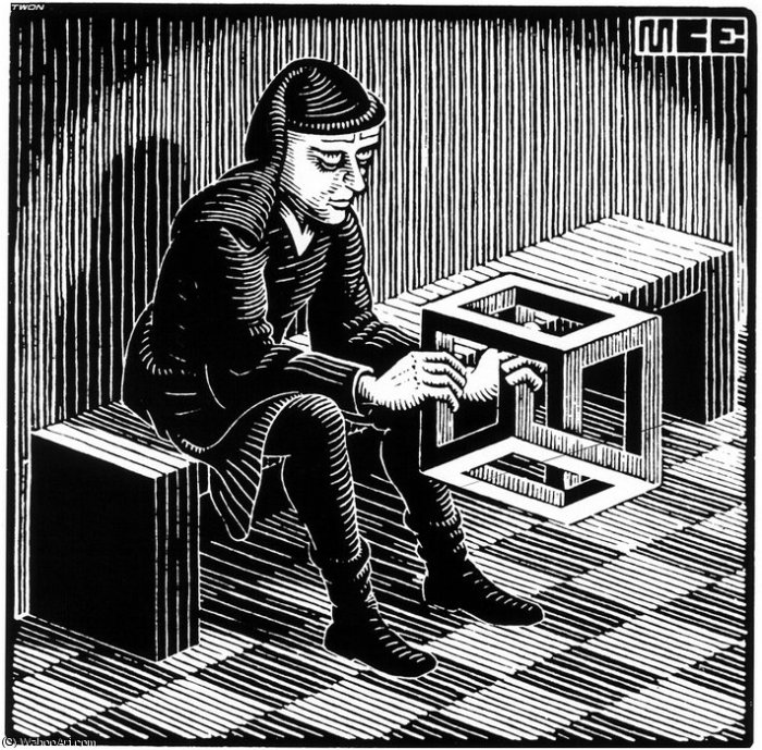 """Impossible Cube"". Source: http://de.wahooart.com/@@/9GZNDN-Maurits-Cornelis-Escher-Quader-mit"
