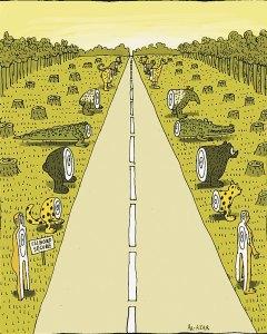 Caricatura sobre el TIPNIS. Fuente: bolivianthoughts.com