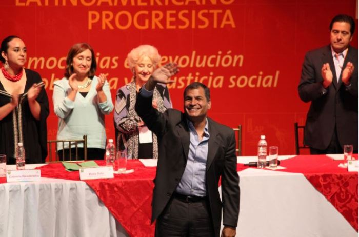 Raphael Correa after his speech at the