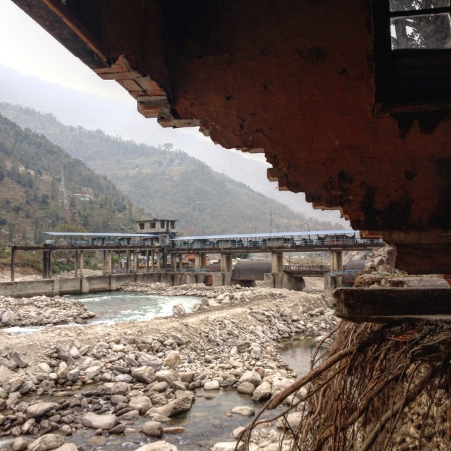 Hydropower facilities in Sindhupalchowk that were damaged by the Jure landslide in August 2014, indicating that slope failure remains a risk even without an earthquake. 2015. Photo by Austin Lord.