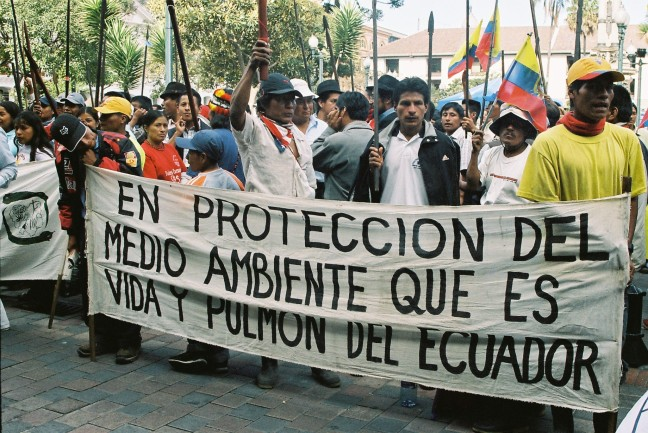 """Protecting the Environment, the life and lungs of Ecuador"": Awá March Anti-Corruption and Pro-Territory. Photography by J. Hazlewood on 8 July 2007."