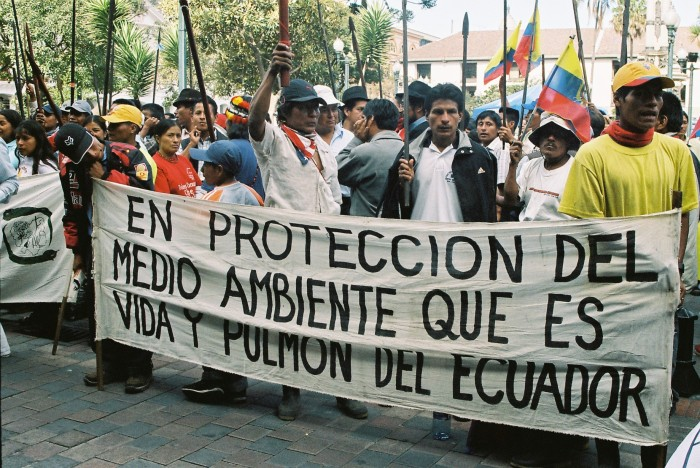 """""""Protecting the Environment, the life and lungs of Ecuador"""": Awá March Anti-Corruption and Pro-Territory. Photography by J. Hazlewood on 8 July 2007."""