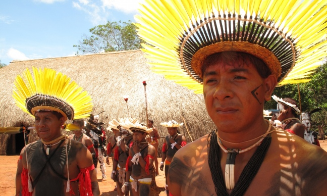 Danrley Furigá Ikpeng and other Ikpeng, one of many indigenous peoples opposed to the Belo Monte dam and other proposed dams in the Xingu basin in Brazil's Amazon. Photograph: Felipe Milanez.