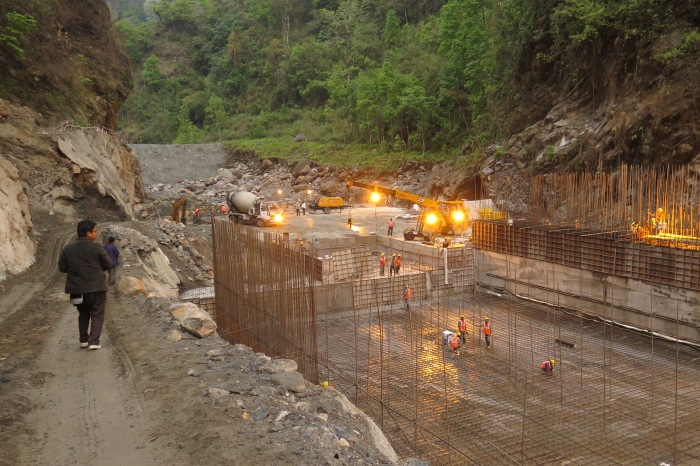 Construction works for the 97MW Tashiding hydropower project in West Sikkim, April 2015. Source: author.