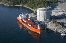 LNG terminal at Brunnsvik Holmen in Nynashamn (Sweden). Beginning operation in March 2011, the terminal is the first of the Baltic Sea and has a storage capacity of 20 000 m3.