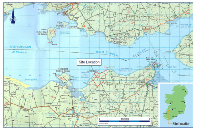 Site location of the LNG Terminal at Kerry, South West Ireland (source: