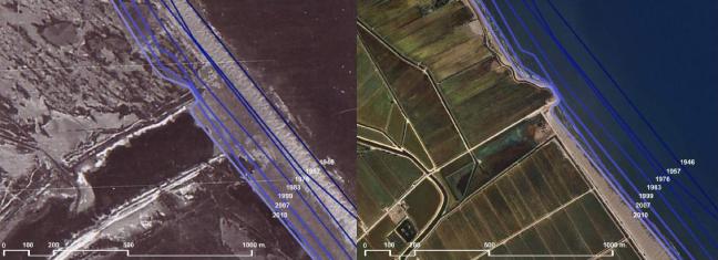 El Delta del Ebro en 1946 (foto izquierda) y el Delta del Ebro en 2010 (foto derecha). Las líneas azules señalan la evolución de la regresión de costa a lo largo de los años. Fuente: Institut Cartogràfic de Catalunya.